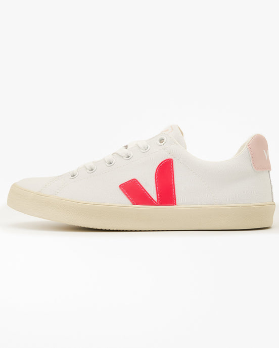 Veja Womens Esplar SE Canvas Sneakers - White / Rose Fluo / Petale UK 4 SEW0122094 Veja Trainers