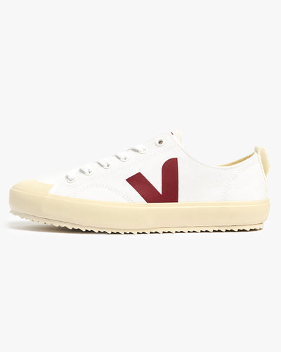 Veja Womens Nova Canvas Vegan Sneakers - White / Marsala UK 4 NAW0120054 Veja Trainers