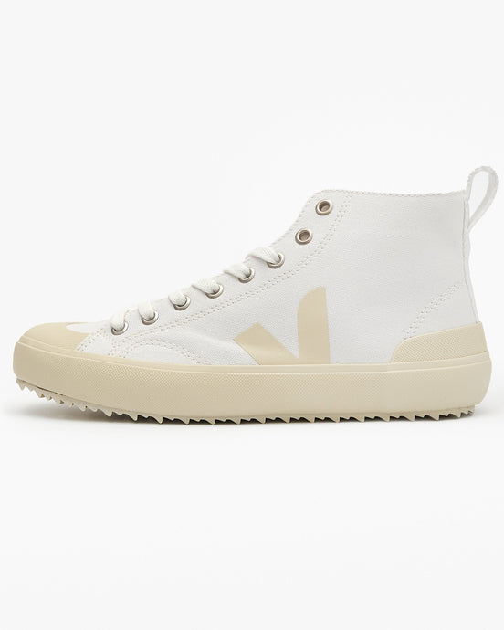 Veja Womens Nova High Top Canvas Vegan Sneakers - White / Pierre UK 3 NT012348A3 3611820019072 Veja Trainers