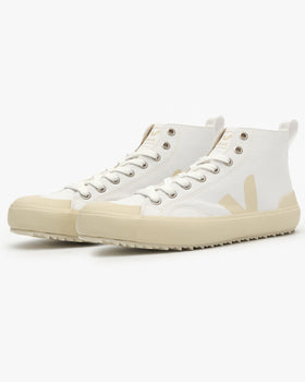 Veja Womens Nova High Top Canvas Vegan Sneakers - White / Pierre Veja Trainers