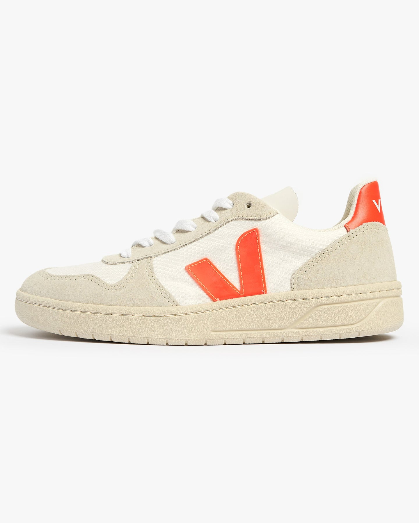 Veja Womens V-10 B-Mesh Sneakers - White / Natural / Orange Fluo UK 4 VXW0125014 Veja Trainers