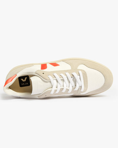 Veja Womens V-10 B-Mesh Sneakers - White / Natural / Orange Fluo Veja Trainers