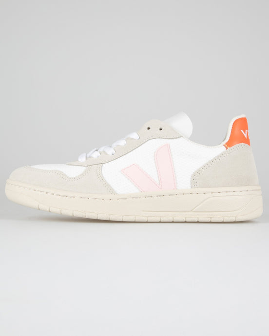 Veja Womens V-10 B-Mesh Sneakers - White / Petale Orange Fluo UK 3 VXW0121423 3611820644618 Veja Trainers