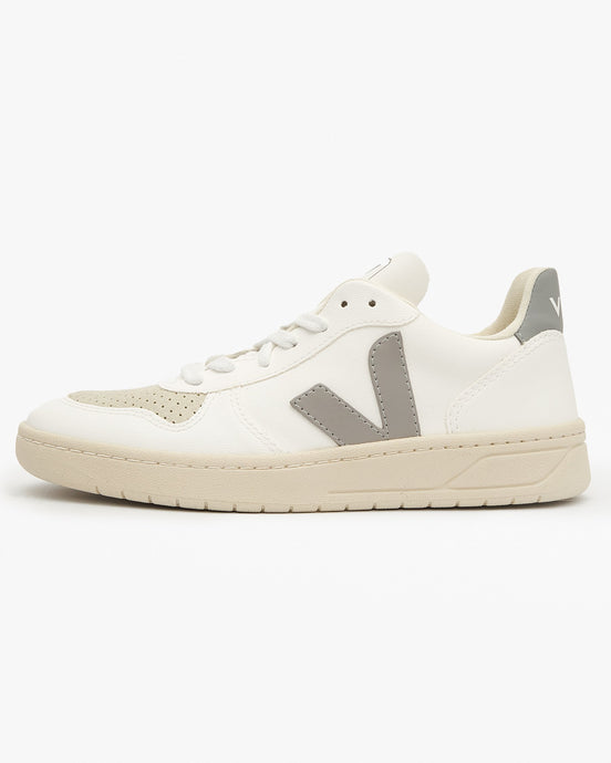 Veja Womens V-10 CWL Vegan Sneakers - White / Oxford Grey UK 4 VX072349A4 3611820045590 Veja Trainers