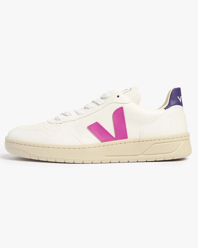Veja Womens V-10 CWL Vegan Sneakers - White / Ultraviolet Purple UK 4 VXW0725364 Veja Trainers