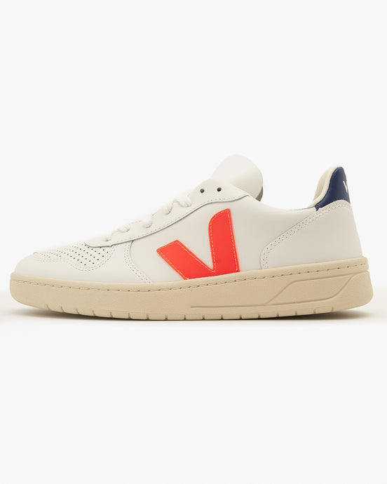 Veja Womens V-10 Leather Sneakers - Extra White / Orange Fluo / Cobalt UK 4 VXW0221364 Veja Trainers