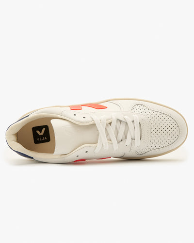 Veja Womens V-10 Leather Sneakers - Extra White / Orange Fluo / Cobalt Veja Trainers