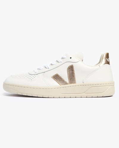 Veja Womens V-10 Leather Sneakers - Extra White / Platine UK 4 VXW0224904 Veja Trainers