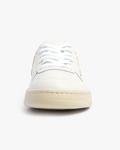 Veja Womens V-10 Leather Sneakers - Extra White / Platine Veja Trainers
