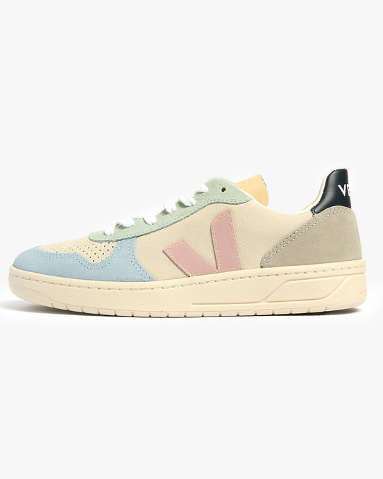 Veja Womens V-10 Suede Sneakers - Multico / Natural / Babe UK 4 VXW0324954 Veja Trainers