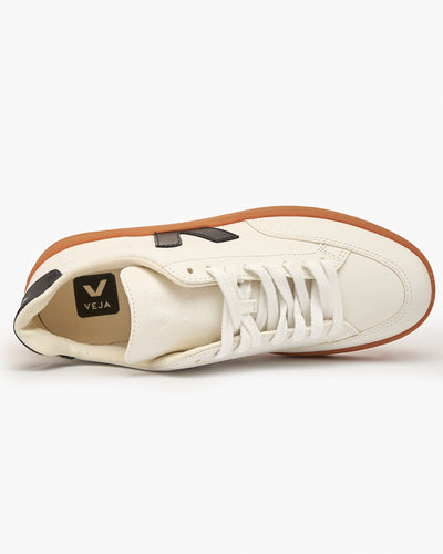 Veja Womens V-12 Easy Leather Sneakers - Extra White / Black / Gum Veja Trainers