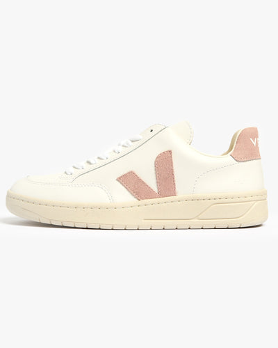 Veja Womens V-12 Leather Sneakers - Extra White / Babe UK 4 XDW0224764 Veja Trainers