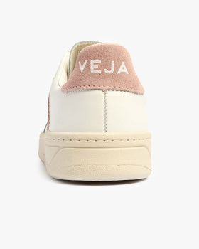 Veja Womens V-12 Leather Sneakers - Extra White / Babe Veja Trainers