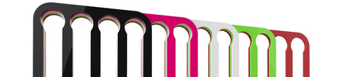 Nespresso Vertuo line wall mounted coffee pod capsule holder colour options, black, white, red, pink & lime.