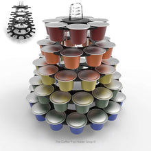Nespresso original line coffee pod tower stand with rotating rings, shown in black acrylic