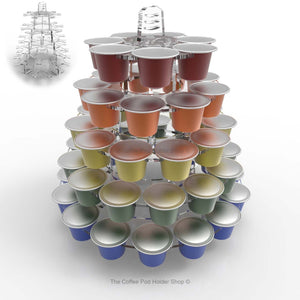 Nespresso original line coffee pod tower stand with rotating rings, shown in clear acrylic