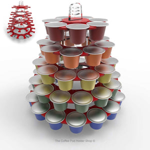 Nespresso original line coffee pod tower stand with rotating rings, shown in red acrylic