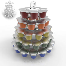 Nespresso original line coffee pod tower stand with rotating rings, shown in white acrylic