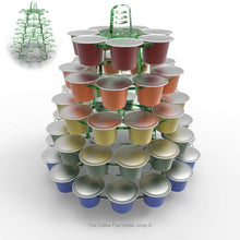 Nespresso original line coffee pod tower stand with rotating rings, shown in glass effect acrylic