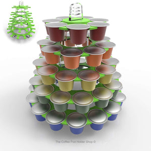 Nespresso original line coffee pod tower stand with rotating rings, shown in lime acrylic