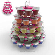 Nespresso original line coffee pod tower stand with rotating rings, shown in pink acrylic
