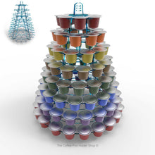 Nespresso original line coffee capsule tower stand with rotating rings, shown in cool blue tint acrylic