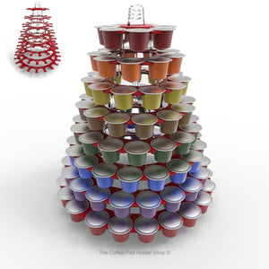 Nespresso original line coffee capsule tower stand with rotating rings, shown in red acrylic