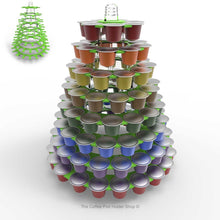 Nespresso original line coffee capsule tower stand with rotating rings, shown in lime acrylic