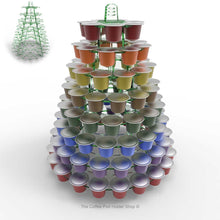 Nespresso original line coffee capsule tower stand with rotating rings, shown in glass effect acrylic