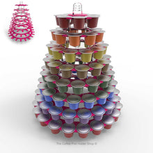 Nespresso original line coffee capsule tower stand with rotating rings, shown in pink acrylic