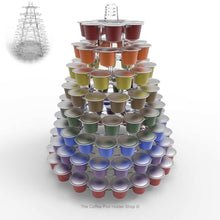 Nespresso original line coffee capsule tower stand with rotating rings, shown in clear acrylic