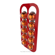 Red, wall mounted, self adhesive Nespresso Vertuo line coffee pod capsule holder. Holds 10 pods in 2 rows.