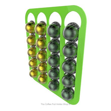 Lime, wall mounted, self adhesive Nespresso Vertuo line coffee pod capsule holder. Holds 20 pods in 4 rows.