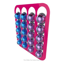 Pink, wall mounted, self adhesive Nespresso Vertuo line coffee pod capsule holder. Holds 20 pods in 4 rows.
