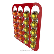 Red, wall mounted, self adhesive Nespresso Vertuo line coffee pod capsule holder. Holds 20 pods in 4 rows.