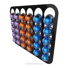 Black, wall mounted, self adhesive Nespresso Vertuo line coffee pod capsule holder. Holds 30 pods in 6 rows.