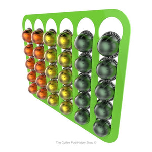 Lime, wall mounted, self adhesive Nespresso Vertuo line coffee pod capsule holder. Holds 30 pods in 6 rows.
