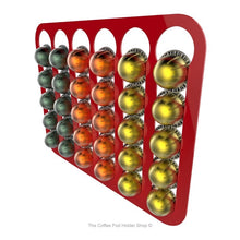 Red, wall mounted, self adhesive Nespresso Vertuo line coffee pod capsule holder. Holds 30 pods in 6 rows.