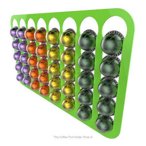 Lime, wall mounted, self adhesive Nespresso Vertuo line coffee pod capsule holder. Holds 40 pods in 8 rows.