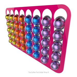 Pink, wall mounted, self adhesive Nespresso Vertuo line coffee pod capsule holder. Holds 40 pods in 8 rows.