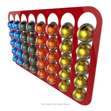 Red, wall mounted, self adhesive Nespresso Vertuo line coffee pod capsule holder. Holds 40 pods in 8 rows.