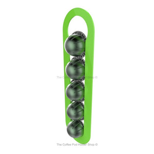 Lime, wall mounted, self adhesive Nespresso Vertuo line coffee pod capsule holder. Holds 5 pods in 1 row.