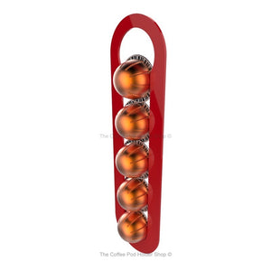 Red, wall mounted, self adhesive Nespresso Vertuo line coffee pod capsule holder. Holds 5 pods in 1 row.