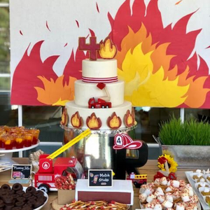 Fire Truck Themed Dessert Table & Snacks