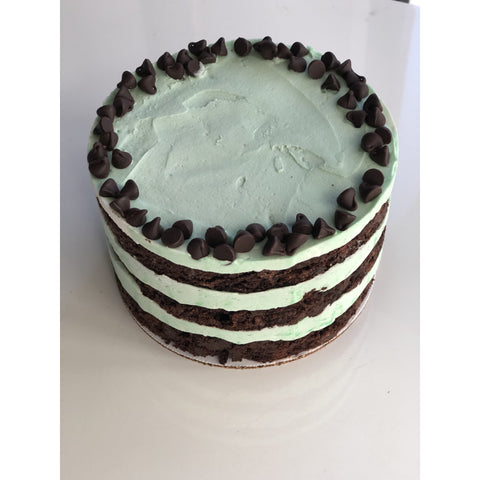 Chocolate Creme De Menthe Cake - 6-inch, 3-layers, naked