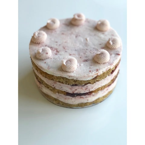 Vanilla Lemon with Raspberry Jam Cake - 6-inch, 3-layered, naked