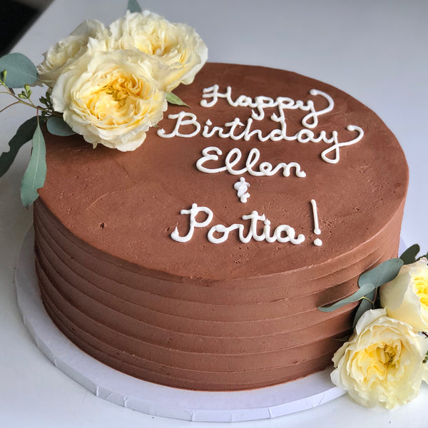 Triple Chocolate Cake with Horizontal Frosting Lines (6-inch 2-layers)