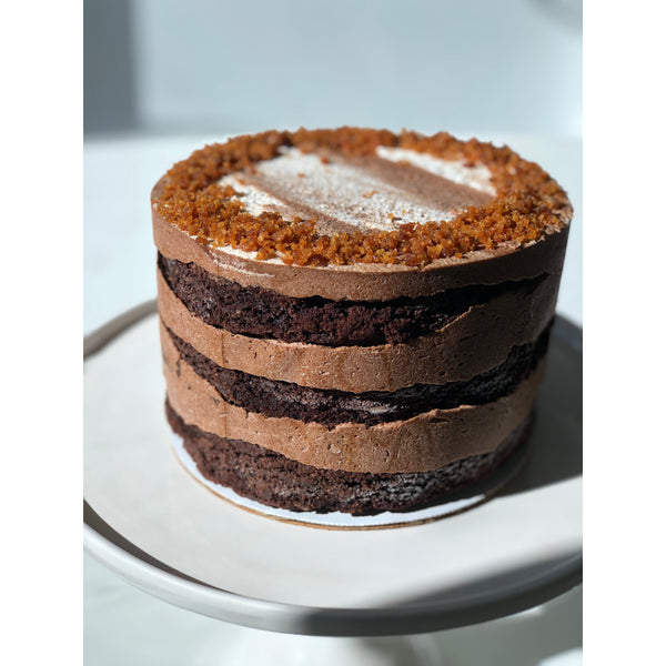 Naked Chocolate Cake with Mocha Frosting & Amaretti Crumbs