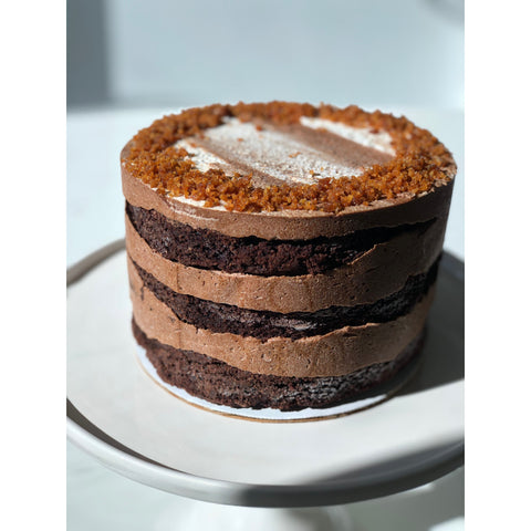 Chocolate Cake with Mocha Frosting & Amaretti Crumbs - 6-inch, 3 layers, naked