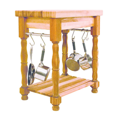 Catskill Craftsmen – Butcher Block Island with Turned Legs and Pot Racks – SKU 1471